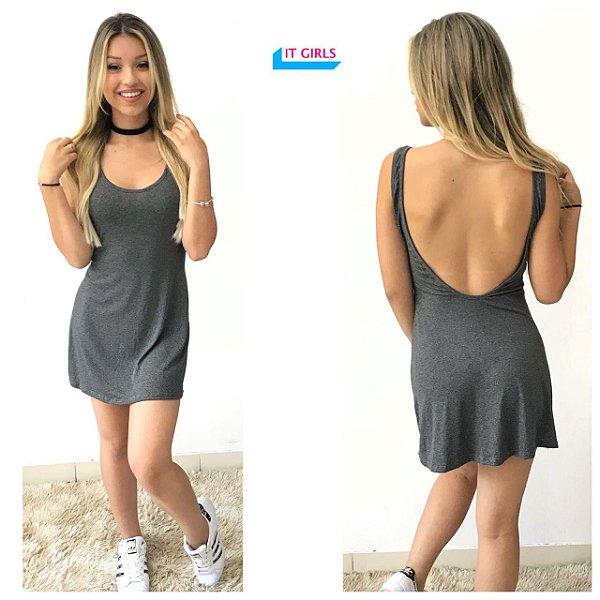 Vestido Cavado - Cinza mescla