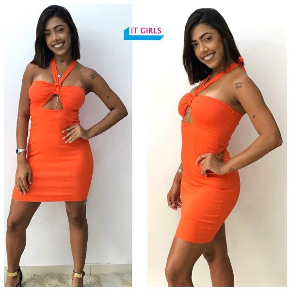 Vestido Lis bengaline - Orange