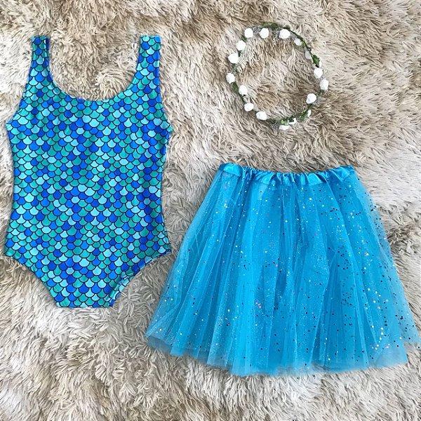 Body Sereia - Blue + saia de tule