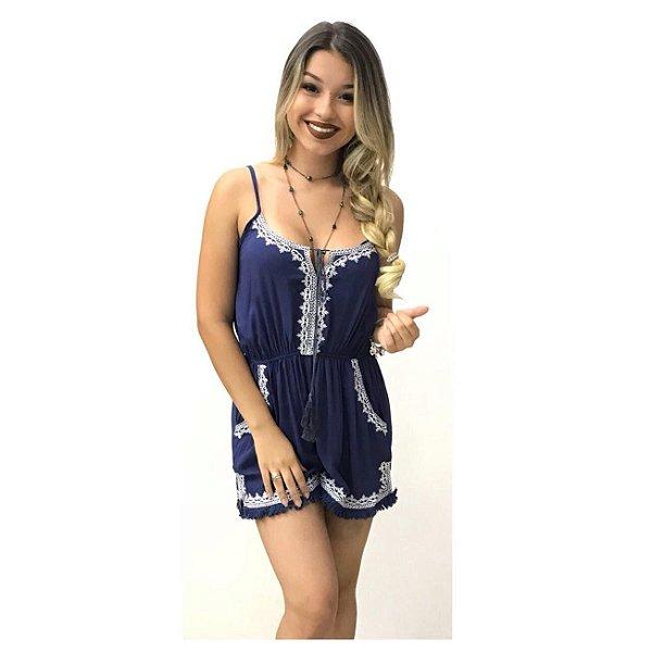 Macaquinho com renda Marcela - Azul