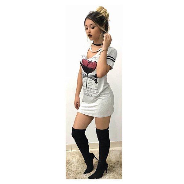Vestido Gola V - Rose
