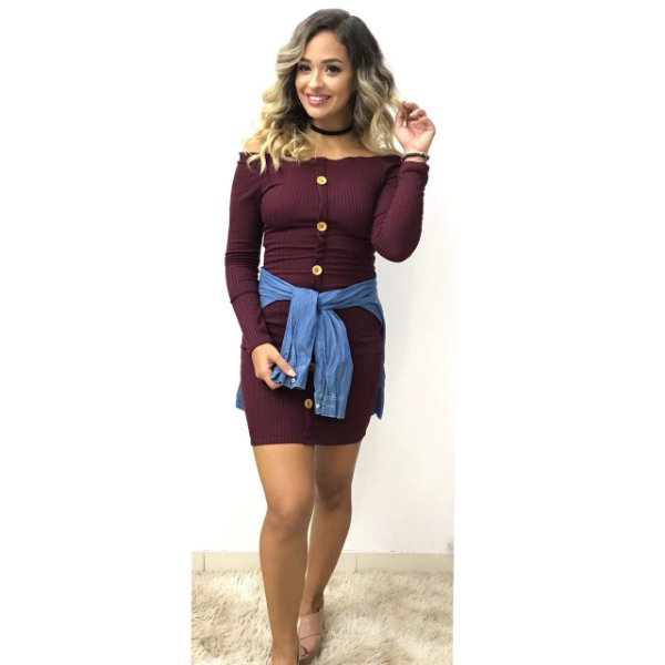 Vestido Canelado Marie - Vinho