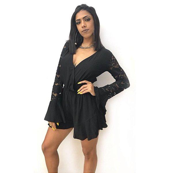 Macaquinho Rendado - All Black