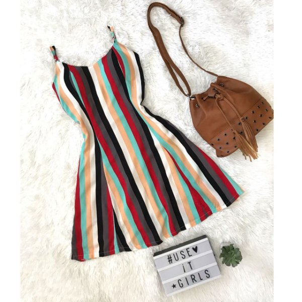 Vestido listras - arco-íris