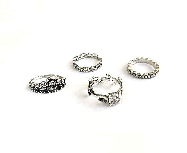 kit de anéis com 4 peças