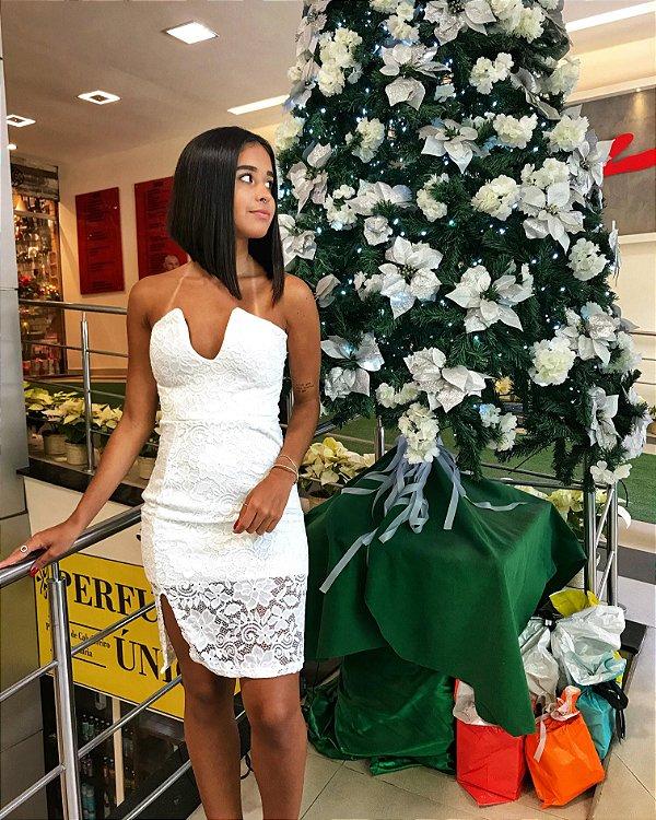 Vestido de renda V - White