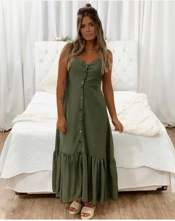 Vestido longo Mayza - Verde militar