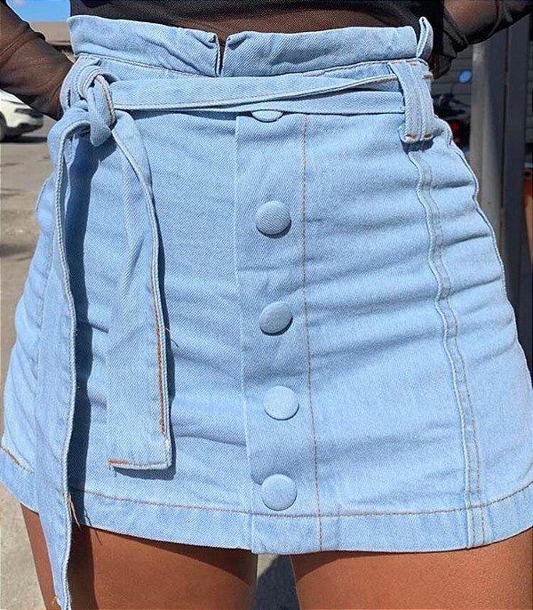 Short Saia jeans botões