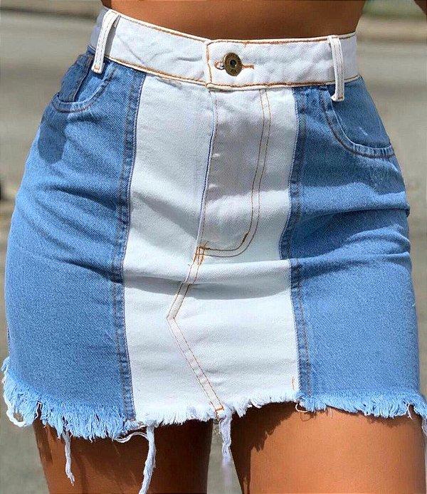 Saia Jeans Bicolor