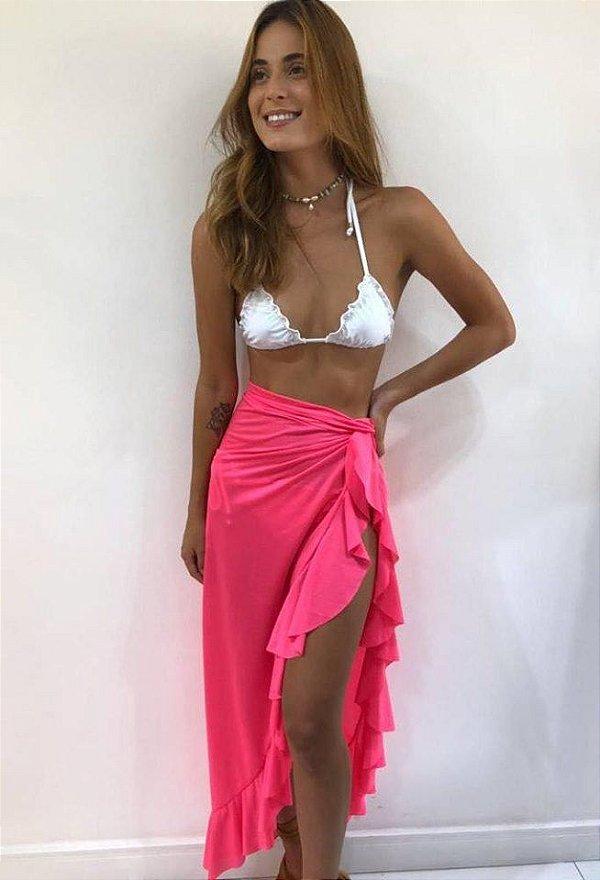 Saia transpassada Babados - Rosa pink