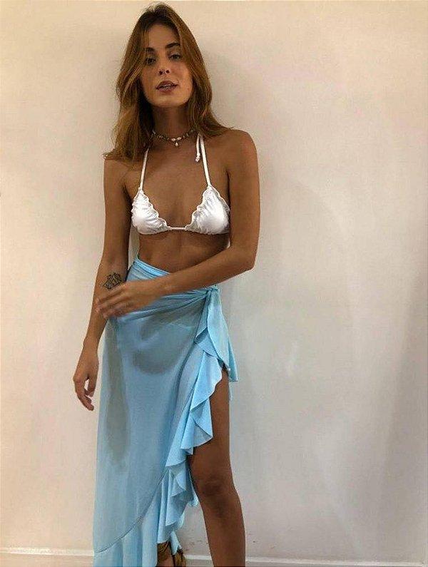 Saia transpassada Babados - Azul