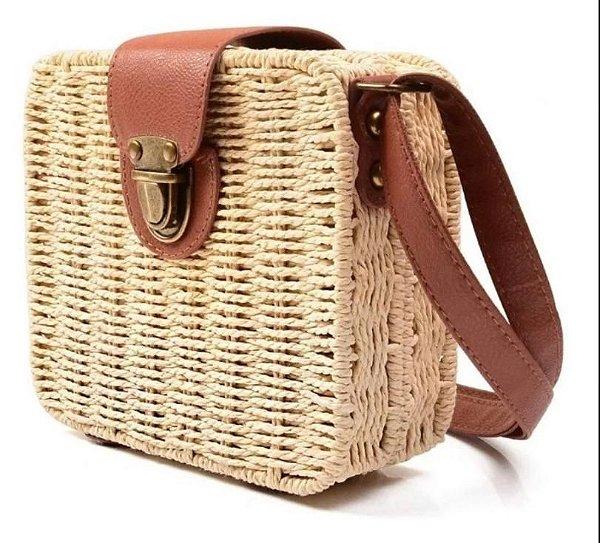 Bolsa de bambu quadrada