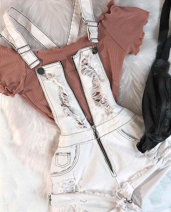 Macaquinho Jardineira - White Jeans Zíper