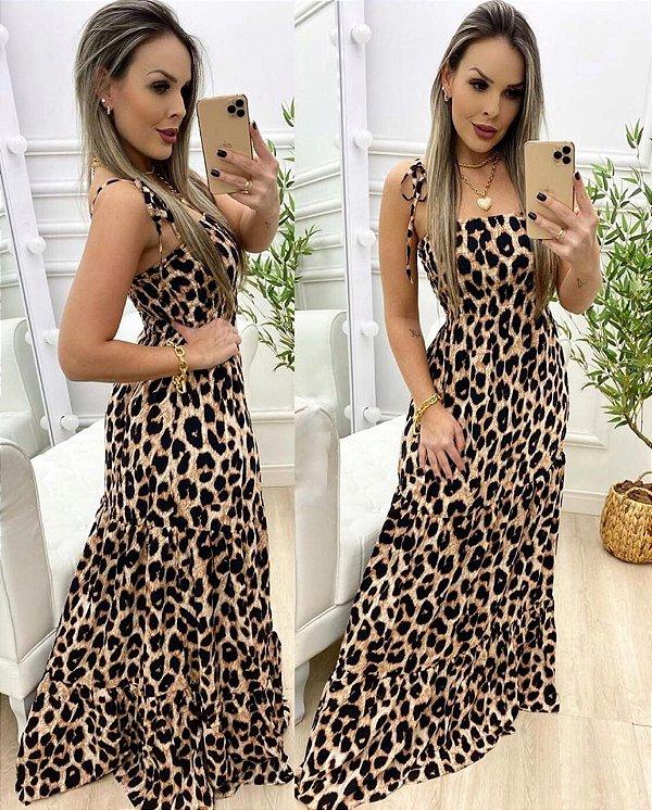 Vestido longo animal print - Laila