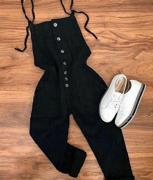 Jardineira Jeans botões - Black Jeans