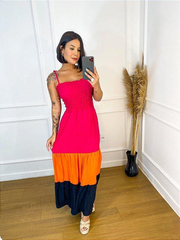 Vestido longo - Laila tri color