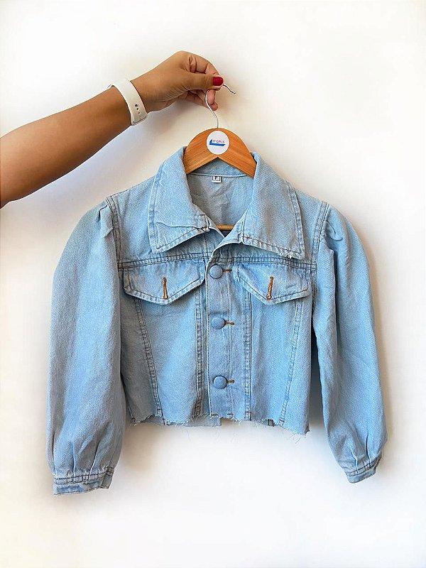 Jaqueta jeans curta - Com Botões encapados