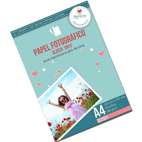 Papel fotográfico glossy 180g pacote com 10 folhas