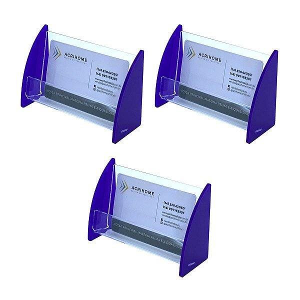 Porta cartão de visitas azul - 3 peças