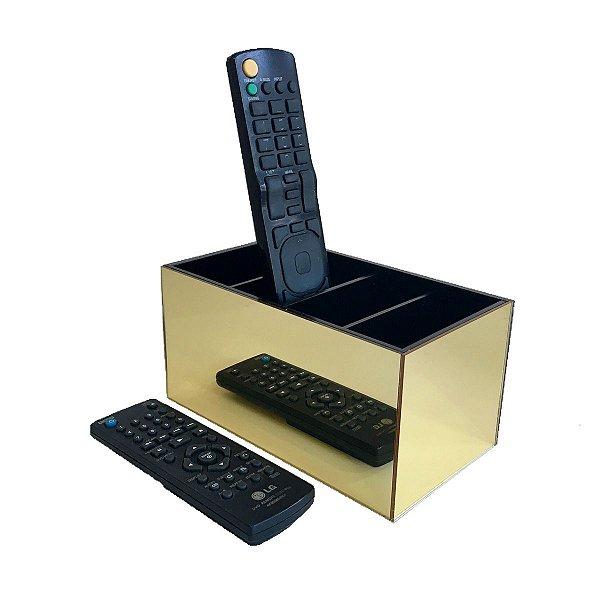 Porta controle remoto - Dourado e preto