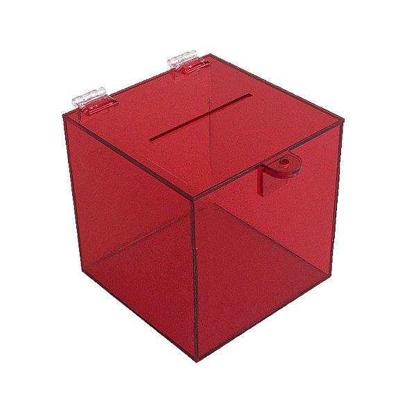 Urna de acrílico 15x15x15cm - Vermelha transparente