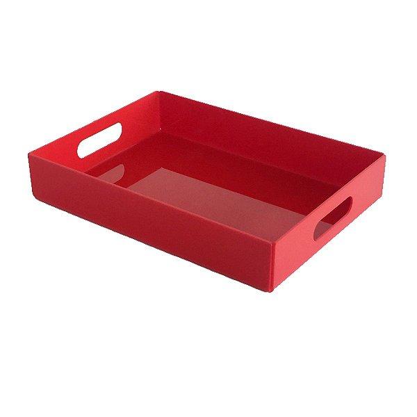 Bandeja de acrílico vermelha média