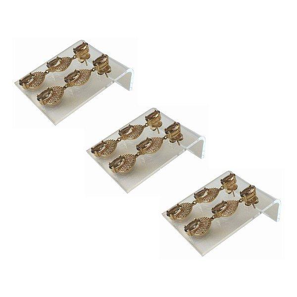 Expositor de brincos 2 furos deitado - Transparente- 3 peças