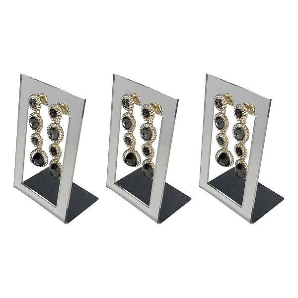 Expositor de brincos 2 furos vazado - Espelhado - 3 peças
