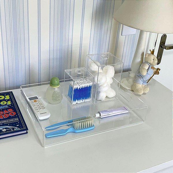 Kit higiene de acrílico transparente para bebê