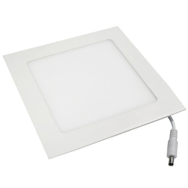 Painel Plafon 12w Led Quadrado Slim Para Embutir Teto Sanca Gesso