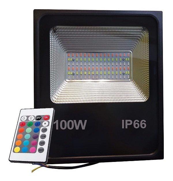 Refletor Holofote RGB 100w Led Bivolt 16 Cores Com Controle