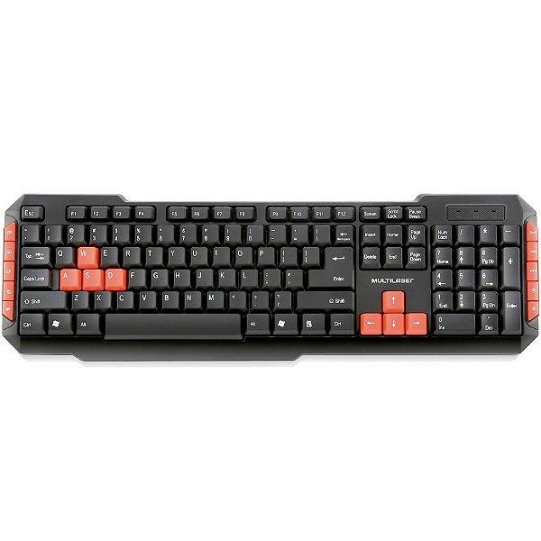 Teclado Sem Fio Gamer Red Keys Multilaser 2.4Ghz