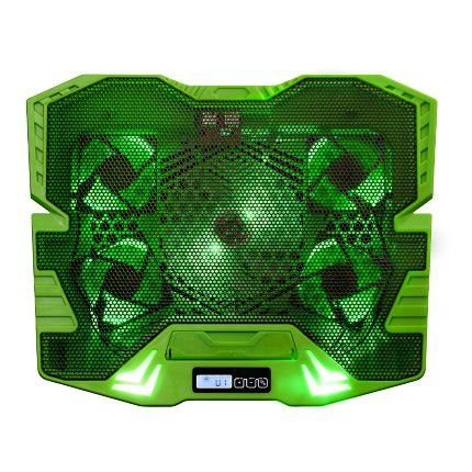 Base Gamer P/ Notebook Refrigerada 5 Coolers Verde com Led