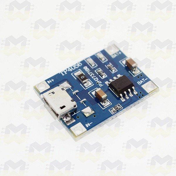 Módulo Carregador de Baterias Lítio TP4056 (Micro USB)