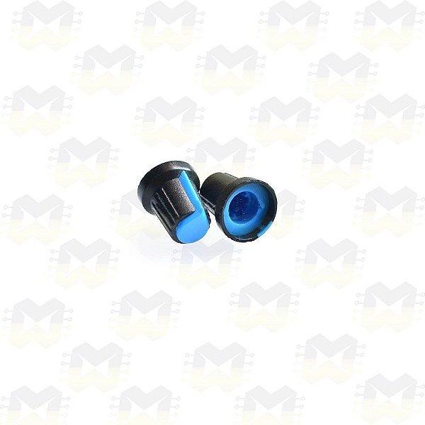 Knob Azul para Eixo 6mm Estriado