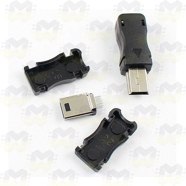 Conector Mini USB Macho de 5 Pinos com Capa
