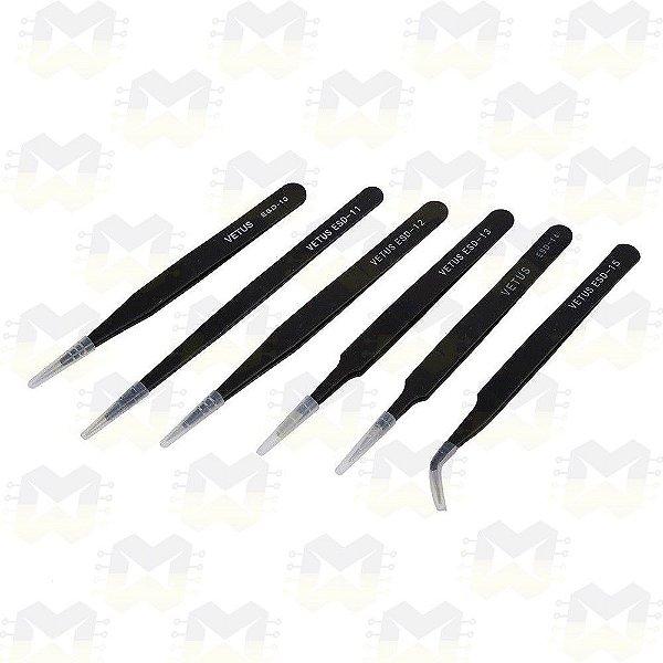 KIT de 6 Pinças Vetus Tweezers Antiestática