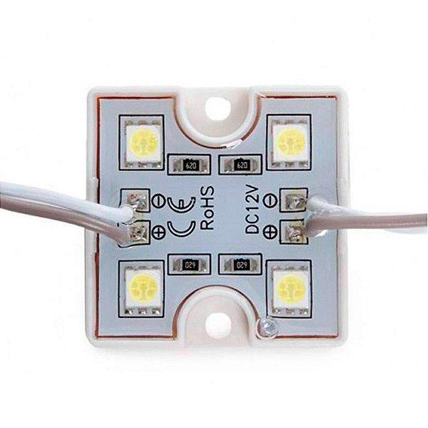 Módulo 4 LEDs SMD 5050 35x35x5mm Impermeável