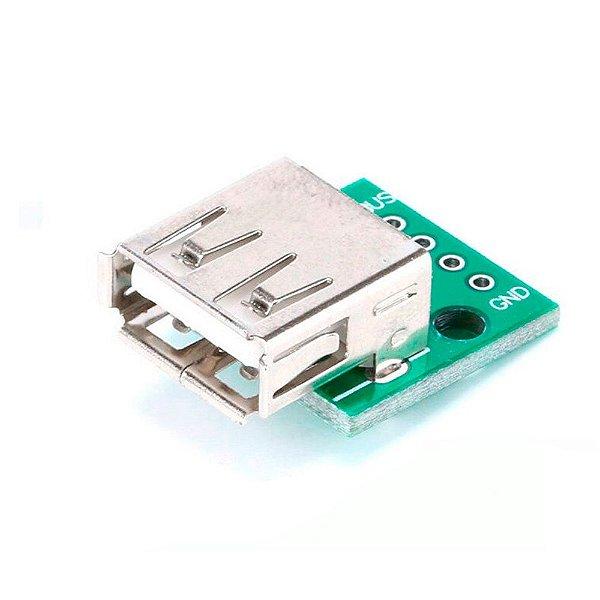 Adaptador Conector USB Fêmea Tipo A para DIP 2.54mm