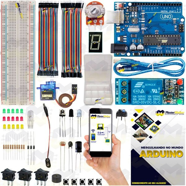 Kit Arduino Uno R3 Básico Iniciante Servo SG90 + Manual 2019 + Sensor Brinde
