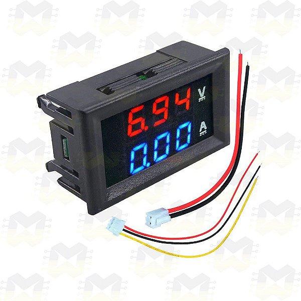 Voltímetro 100VDC Digital com Amperímetro 10A