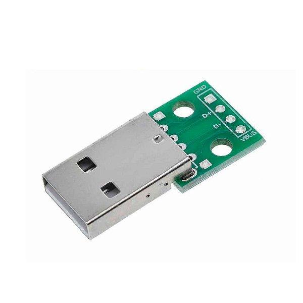 Adaptador Conector USB Macho Tipo A para DIP 2.54mm