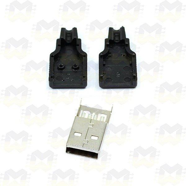 Conector USB Macho Tipo A de 4 Pinos com Capa
