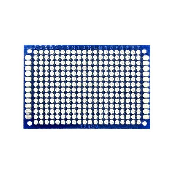 Placa de Circuito Impresso Ilhada 4X6 Azul (280 furos)