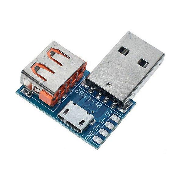 Adaptador USB ZK-USB3 Conexão 3 em 1 e DIP 2.54mm