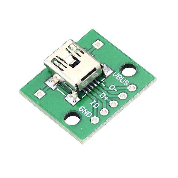 Adaptador Conector Mini USB Fêmea para DIP 2.54mm