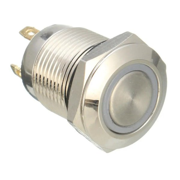 Chave Push Button 19mm Impermeável com LED Vermelho