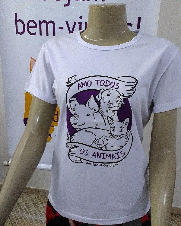 Camiseta Amo Todos os Animais - Baby Look