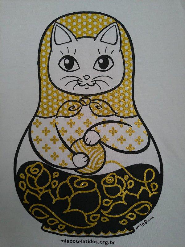 Camiseta Gatrioska Infantil Branca