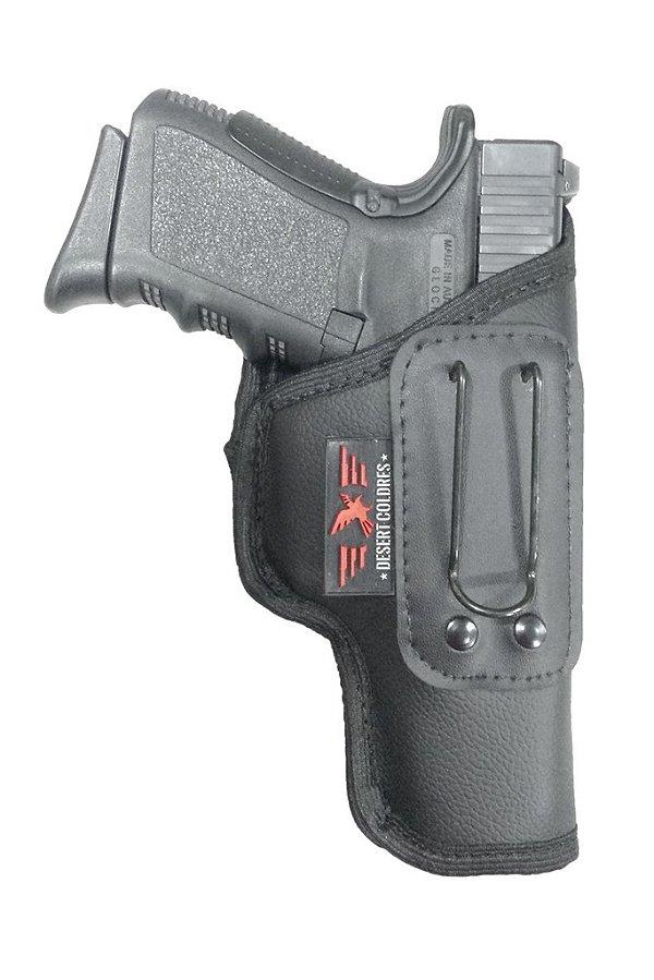 Coldre Velado para Glock G25, G23 e Taurus PT 840, 838, 24/7 em Neoprene e Couro P.U (Sem Aba)